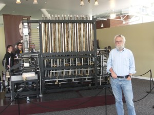 The author posing with a recently built analytical engine at the Computer History Museum